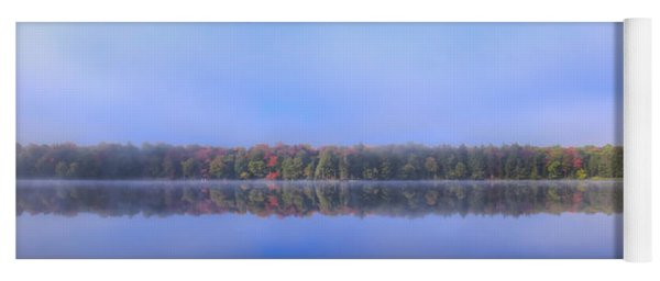 Foggy Autumn Panorama Yoga Mat