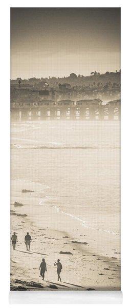 Yoga Mat featuring the photograph Foggy Beach Walk by T Brian Jones