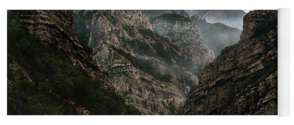 Foggy Mountains Over Neretva Gorge Yoga Mat