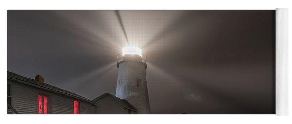 Foggy Night At Pemaquid Point Lighthouse Yoga Mat