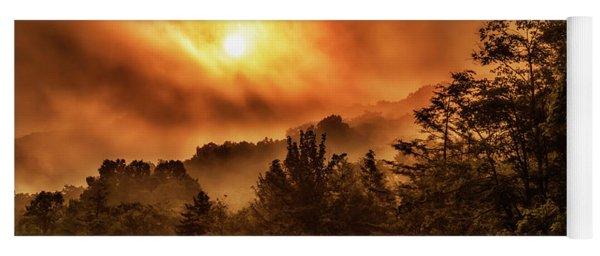 Foggy Sunrise Monongahela National Forest Yoga Mat