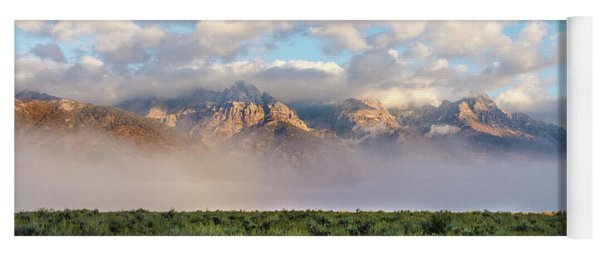 Foggy Teton Sunrise - Grand Tetons National Park Wyoming Yoga Mat
