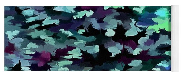 Foliage Abstract Pop Art In Teal, Blue And Green Yoga Mat