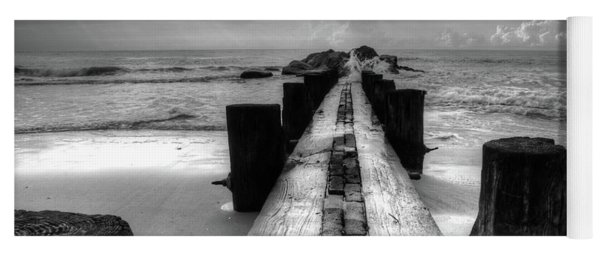 Folly Beach Pilings Charleston South Carolina In Black And White  Yoga Mat