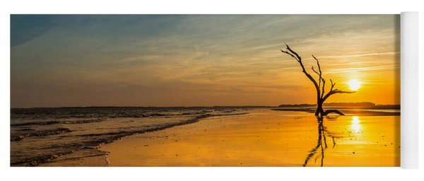 Folly Beach Skeleton Tree At Sunset - Folly Beach Sc Yoga Mat
