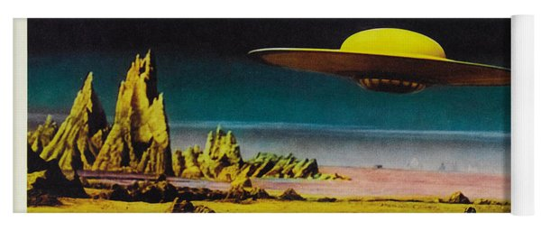 Forbidden Planet In Cinemascope Retro Classic Movie Poster Detailing Flying Saucer Yoga Mat
