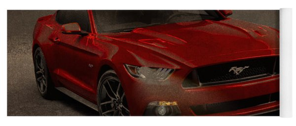 Ford Mustang 2015 Watercolor Pencil Charcoal Sketch On Worn Distressed Canvas Yoga Mat