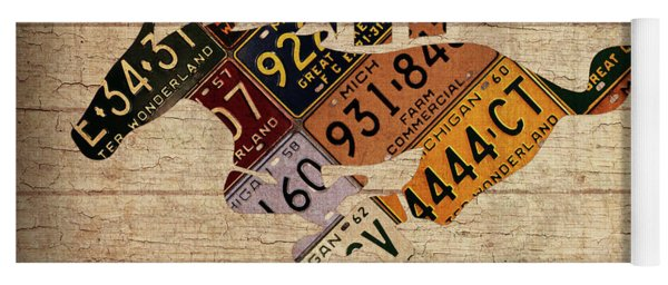 Ford Mustang Emblem Recycled Vintage Michigan License Plate Art Yoga Mat