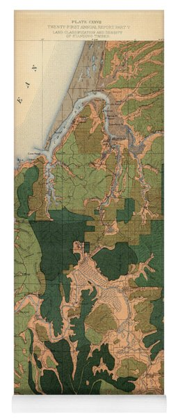 Forest Cover Map 1886-87 - Coos Bay Quadrangle - Oregon - Geological Map Yoga Mat
