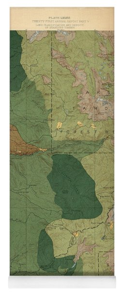 Forest Cover Map 1886-87 - Pyramid Peak Quadrangle - California - Geological Map Yoga Mat