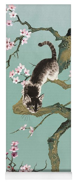 Fortune Cat In Cherry Tree Yoga Mat