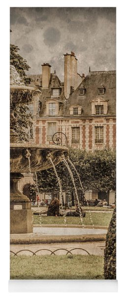 Paris, France - Fountain, Place Des Vosges Yoga Mat