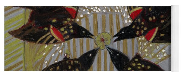 Yoga Mat featuring the painting Four Calling Birds by Denise Weaver Ross