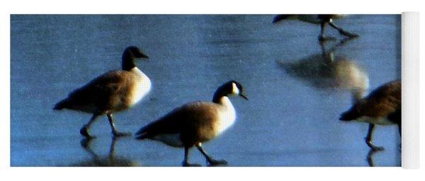 Four Geese Walking On Ice Yoga Mat