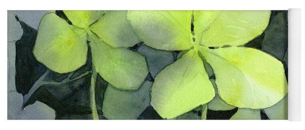 Four Leaf Clover Watercolor Yoga Mat