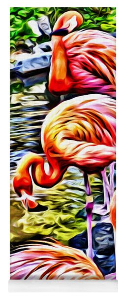 Four Pink Flamingos Yoga Mat