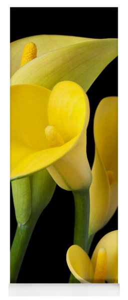 Four Yellow Calla Lilies Yoga Mat