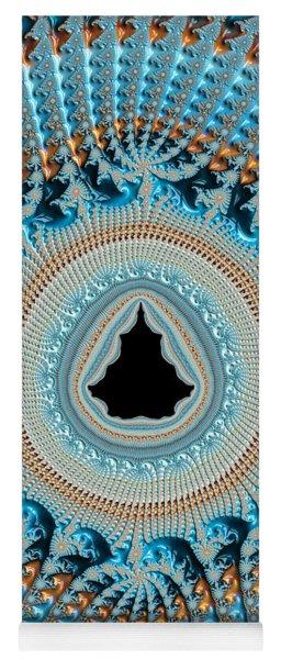 Fractal Art Crochet Style Blue And Gold Yoga Mat