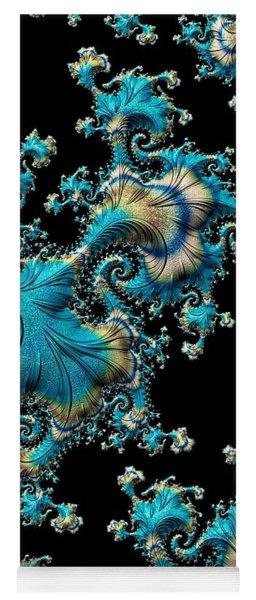 Yoga Mat featuring the digital art Fractal Filigree Blue by Susan Maxwell Schmidt