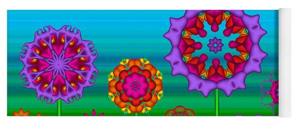 Whimsical Fractal Flower Garden Yoga Mat