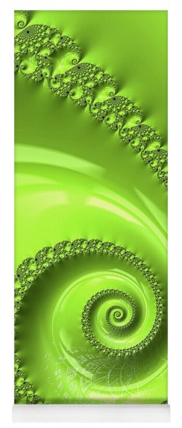 Fractal Spiral Greenery Color Yoga Mat