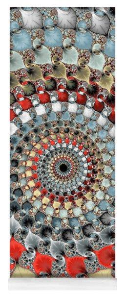Fractal Spiral Red Grey Light Blue Square Format Yoga Mat