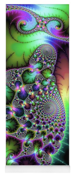 Fractal Spirals And Leaves With Jewel Colors Yoga Mat