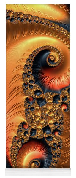 Fractal Spirals With Warm Colors Orange Coral Yoga Mat