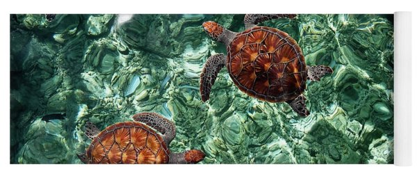 Fragile Underwater World. Sea Turtles In A Crystal Water. Maldives Yoga Mat