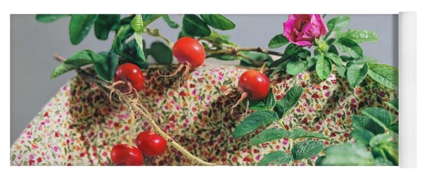Yoga Mat featuring the photograph Fragrant Rugosa Rose With Rosehips And Leaves by Nancy Lee Moran