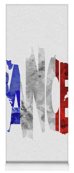 France Typographic Map Flag Yoga Mat