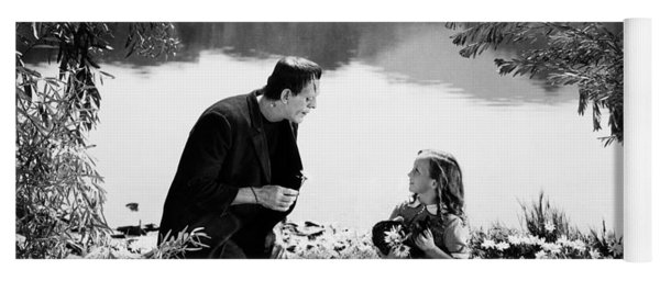 Frankenstein By The Lake With Little Girl Boris Karloff Yoga Mat