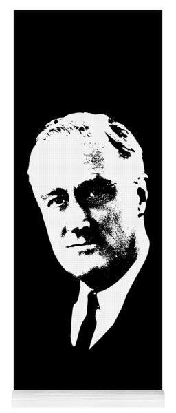 Franklin D. Roosevelt White On Black Pop Art Yoga Mat