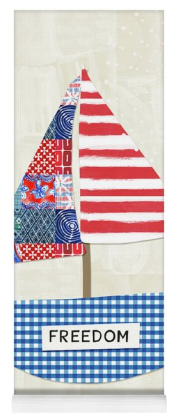 Freedom Boat- Art By Linda Woods Yoga Mat