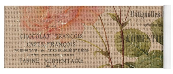 French Burlap Floral 4 Yoga Mat