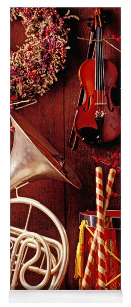 French Horn Christmas Still Life Yoga Mat