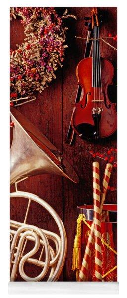 French Horn Christmas Still Life Yoga Mat