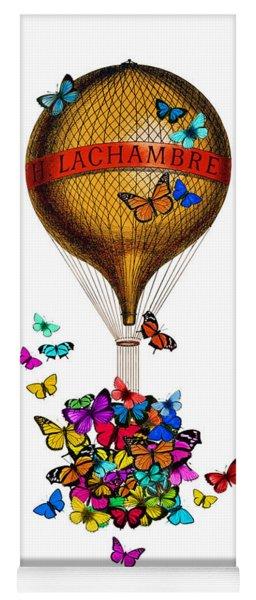 French Hot Air Balloon With Rainbow Butterflies Basket Yoga Mat