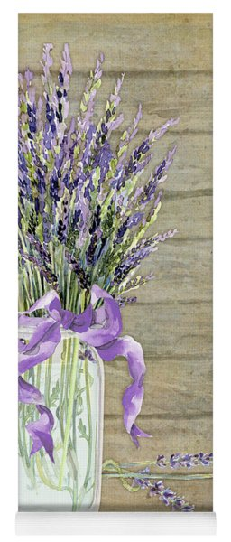 French Lavender Rustic Country Mason Jar Bouquet On Wooden Fence Yoga Mat