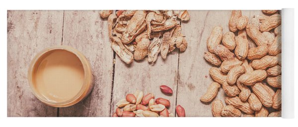 Fresh Peanuts, Shells, Raw Nuts And Peanut Butter Yoga Mat