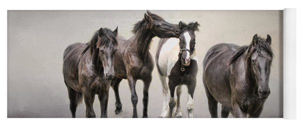 Friesian Horses The Boys And Baby Sister Yoga Mat