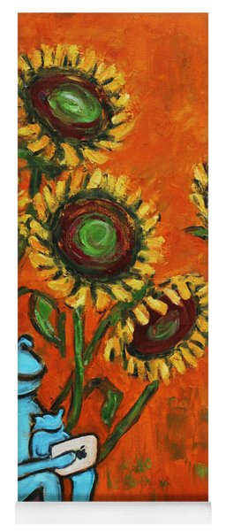 Frog I Padding Amongst Sunflowers Yoga Mat