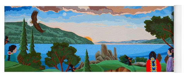 Yoga Mat featuring the painting From A High Place, Troubles Remain Small by Chholing Taha