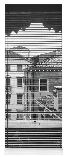 Vintage Buildings From The Window In Venice, Italy - Black And White Yoga Mat