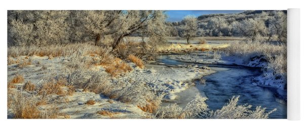 Frost Along The Creek Yoga Mat