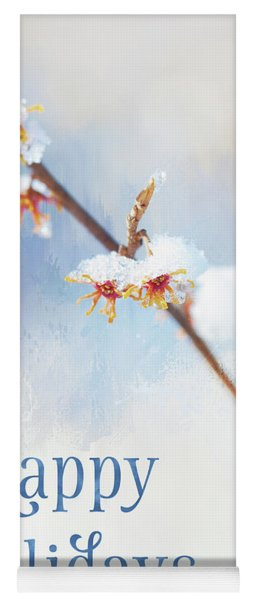 Frosted Witch Hazel Blossoms Holiday Card Yoga Mat