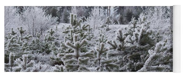 Frosty Winter Treescape Yoga Mat