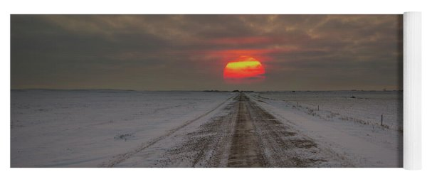 Frozen Road Sunset  Yoga Mat