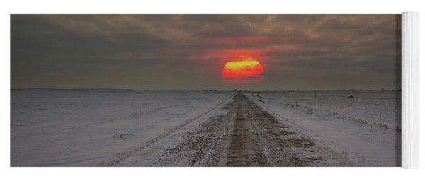 Frozen Road Sunset  Yoga Mat
