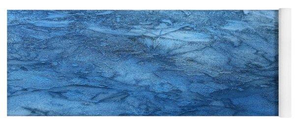 Frozen Water Blue Abstract Yoga Mat
